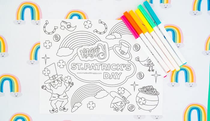 St. Patrick's Day Rainbow Coloring Page