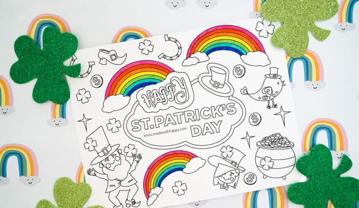 Free Printable St Patricks Coloring Pages Made With Happy