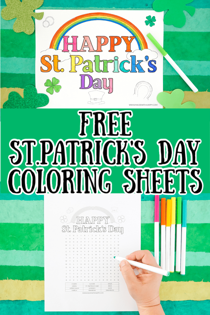 Happy St Patrick S Day Coloring Sheets Made With Happy