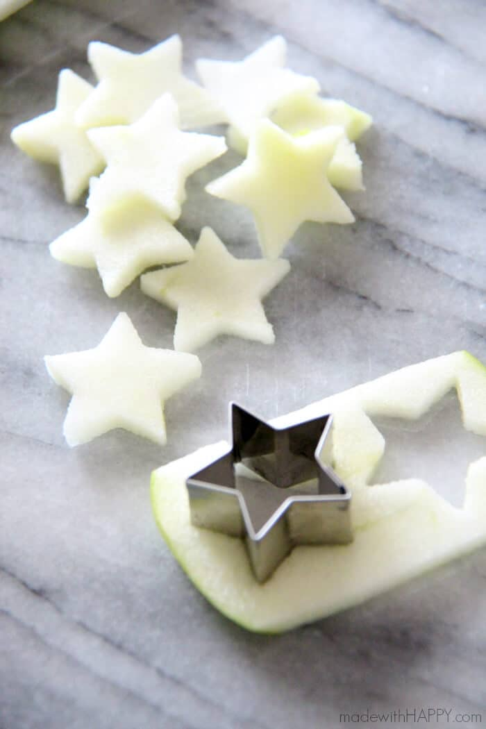 apples cut into stars for sangria