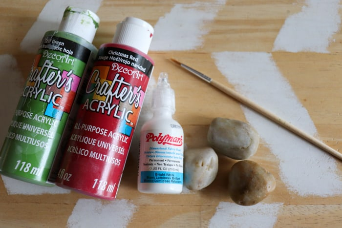 supplies for strawberry rock painting