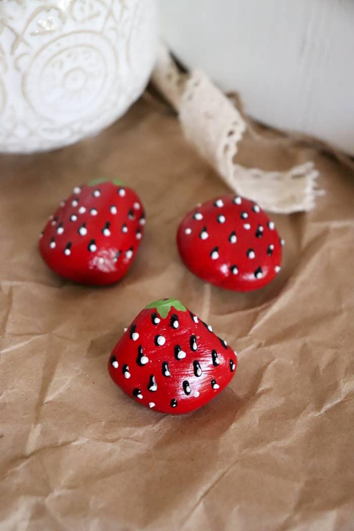 strawberry stone painting