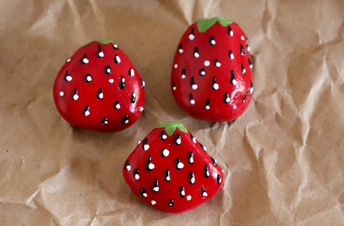 strawberry rock painting