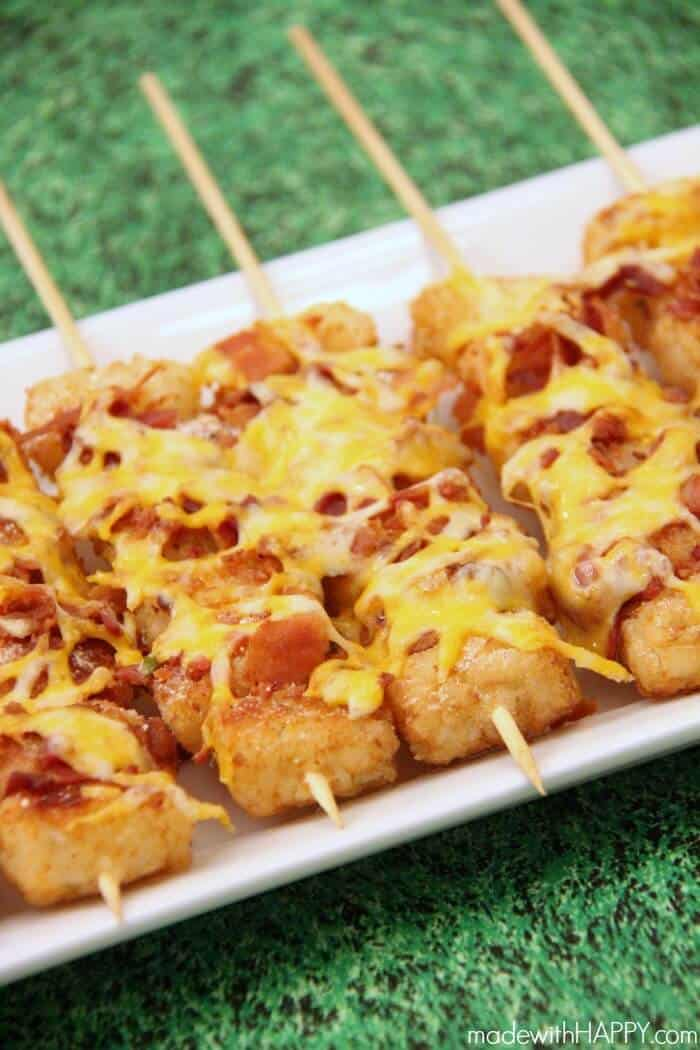 Make Tater Tot Skewers for your tailgate or sports party, and they won't last long.