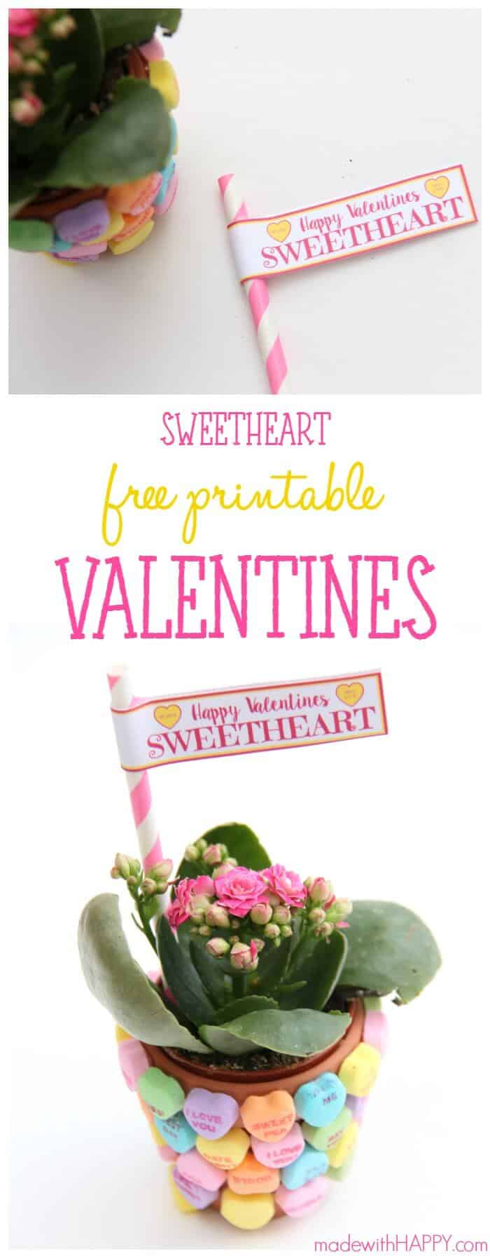 Sweetheart Candies Valentines | Heart Candy Valentines | Free Printable Valentines | Non-Candy Valentines Gifts | www.madewithHAPPY.com