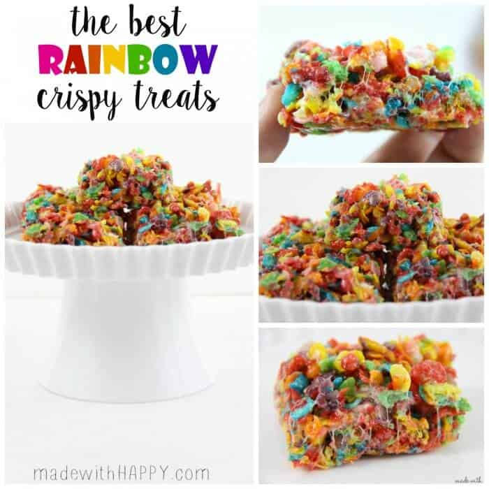 Rainbow Ice Cream Sandwich | Ice cream sandwich recipes | Rice Crispy Treats | Rainbow Treats | St. Patrick's Day Desserts | Rainbow Rice Crispy Treats | www.madewithhappy.com