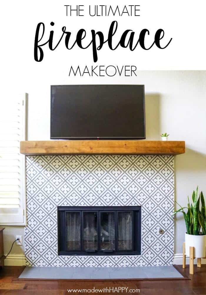 The ultimate fireplace makeover. Cement Tile Fireplace but with ceramic tile. Patterned tiled fireplace, but in a modern way. Rustic farmhouse mantels.