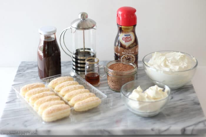 Simple Chocolate Tiramasu | Coffee-mate Creamer Tiramasu | No bake chocolate dessert | www.madewithHAPPY.com
