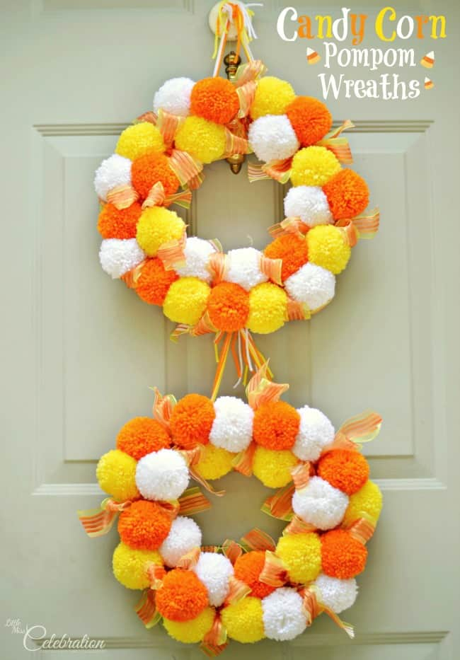 pom pom candy corn wreath