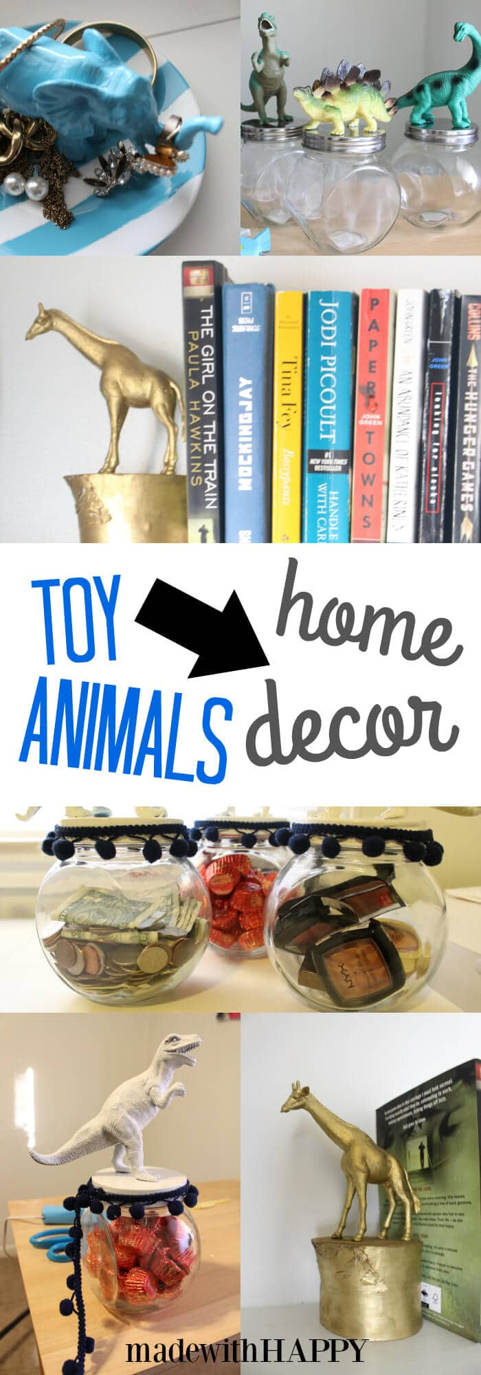 Toy Animal Projects | Toy Animal Home Decor | Fun with plastic toys | www.madewithHAPPY.com