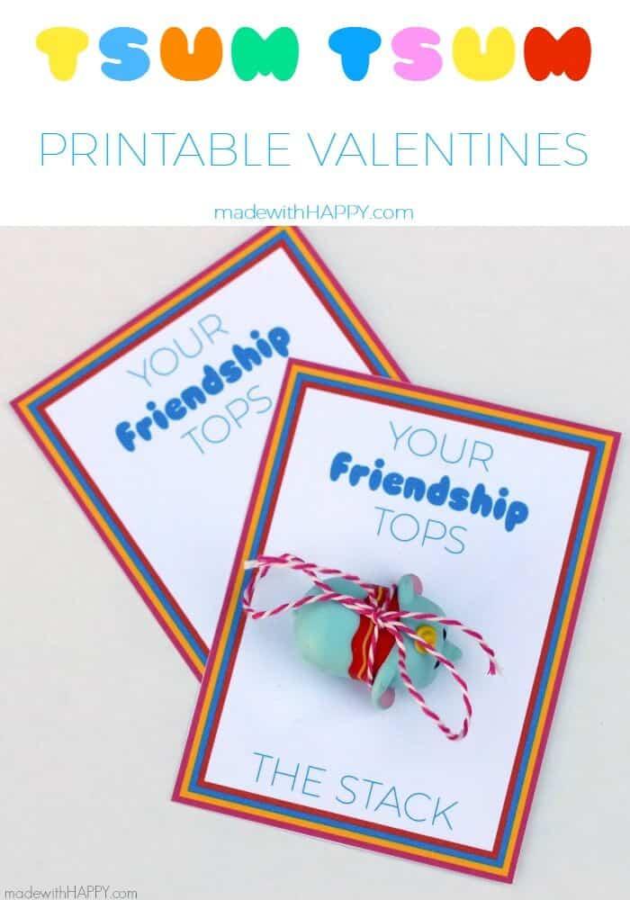 Tsum Tsum Printable Valentines | Free Printable Valentines | Disney Tsum-Tsum Stackable Valentines | www.madewithHAPPY.com
