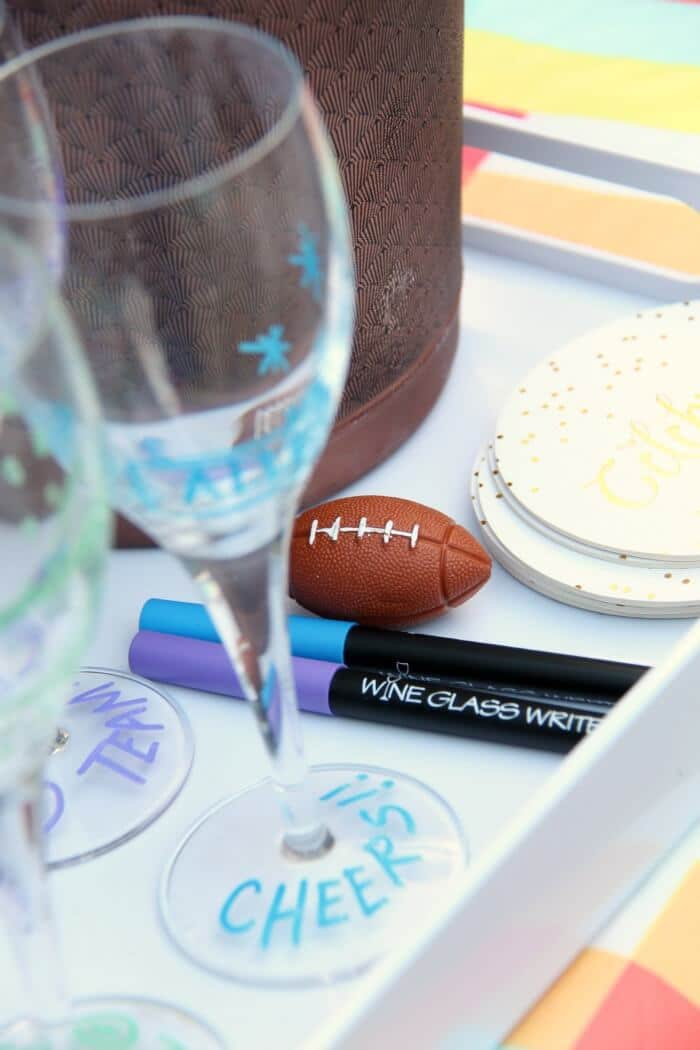 Game Day Celebration Tips to include the ladies | Fun Entertaining Ideas with Wine Glass Writer | Mimosa Bar and Wine Bar | www.madewithHAPPY.com