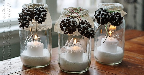 Winter Luminaries: Snowy Pinecone Candle Jars for winter