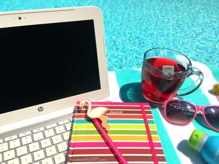 Pool Day Working from Home | Greek Salad and Passion Tea | Back to School | Back to Work | www.madewithhappy.com