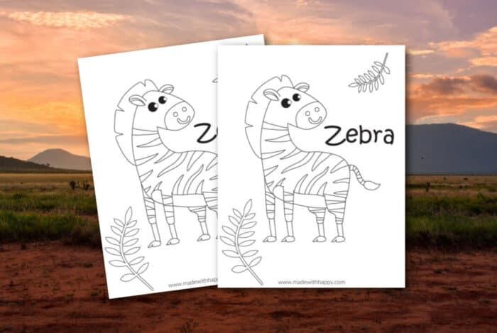 preschool zebra coloring page