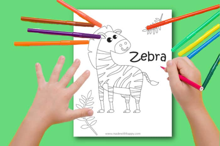 printable zebra coloring pages