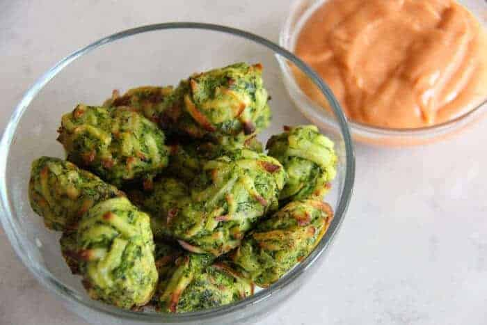 Zucchini Tater Tots with Spicy Sriracha Mayonnaise